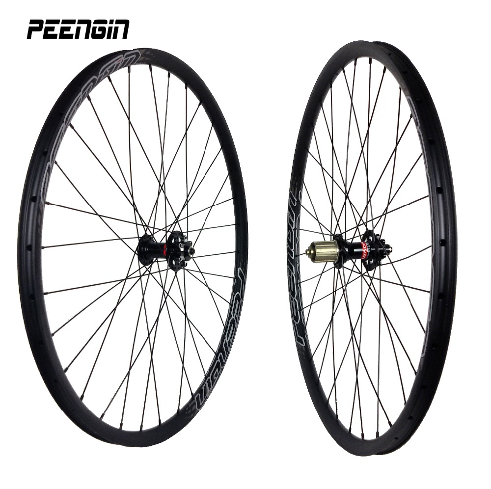 Ultra-light carbon bicycle wheels 29inch/27er 27X23mm tubular-clincher mountain bike wheelset quick release/Thru axle XC mtb rim light bicycle roda mtb 29 carbon rear wheels