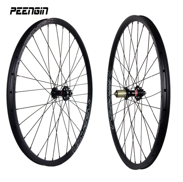 Ultra-light carbon bicycle wheels 29inch/27er 27X23mm tubular-clincher mountain bike wheelset quick release/Thru axle XC mtb rim