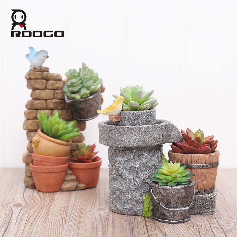 Image 4 - Roogo Antique Flower Pots Chinese Style Home Garden Plant Pot Decorative Flower Pots For Succulents Planter Fairy House-in Flower Pots & Planters from Home & Garden