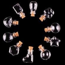 Wholesale 10pcs Mini Transparent Glass Bottle Jars Vials Wish Bottle Cute Art Bottles DIY Craft with