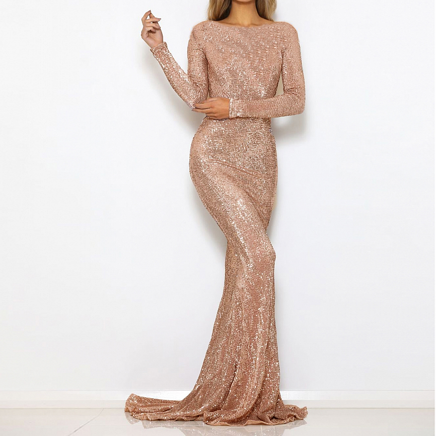 Stretchy Sequined Evening Party Dress Floor Length Maxi Dress Dress Back Zipper Maxi Dress Champagne Gold