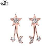 DELIEY 100 Real 925 Sterling Silver Inlaid Zircon Jewelry Earrings Fashion OL Creative Star Moon Earrings