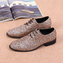Sequined Leather Chaussure Homme Slip On Mocassin Men Loafers Casual Flats Glitter Mens Wedding Shoes Flat Men Dress Shoes deification mocassin homme red flower embroidered mens flats loafers velvet slippers comfortable leather shoes men wedding shoes