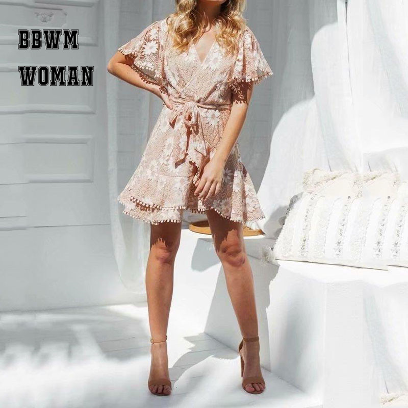 Lace Work White Flower Embroidery Women Dress Skin Color Short Sleeve V Neck Fashion Female Dresses ZO1510