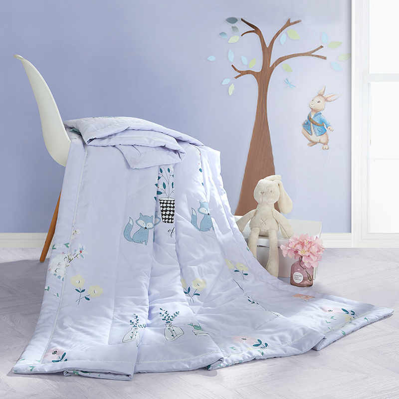 Light Purple Grey Fox Quilting Summer Comforter Quilt Stitching Modal Fabric Polyester Filler Twin Queen Air Condition