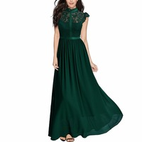 Women S Formal Floral Lace Cap Sleeve Evening Party Maxi Dress Chiffon Long Dresses