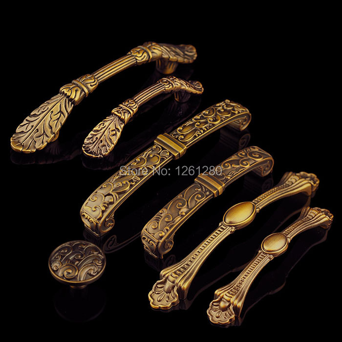 цены free shipping metal handle zinc alloy furniture handle European antique kitchen shoe cabinet door knob drawer pull Hardware part
