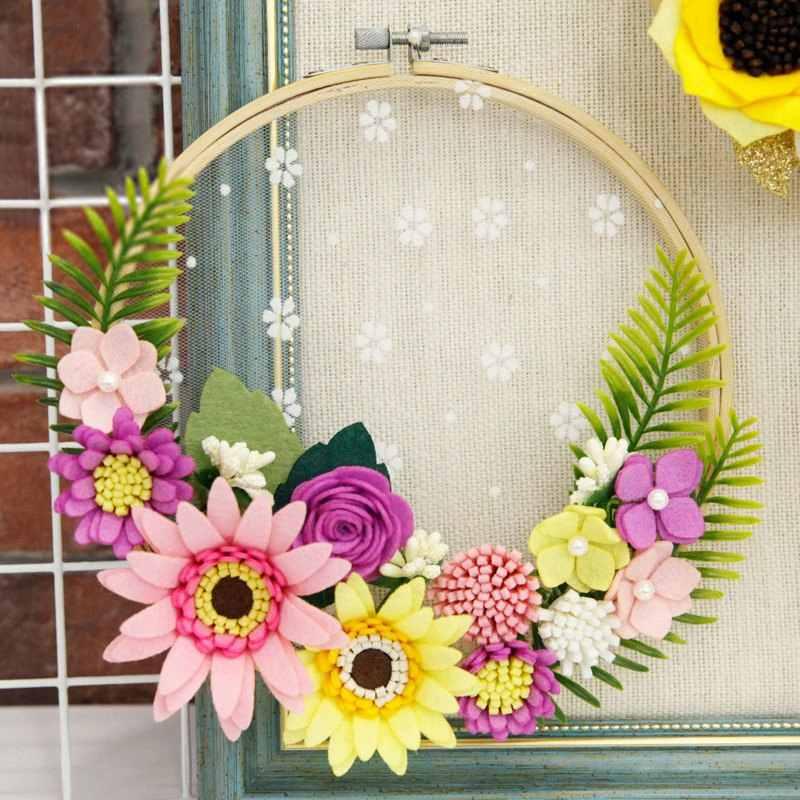 Handmade Beautiful Felt Flower Garland Artificial Flowers Rattan Ornament For Home Wall Decor Felt Diy Package