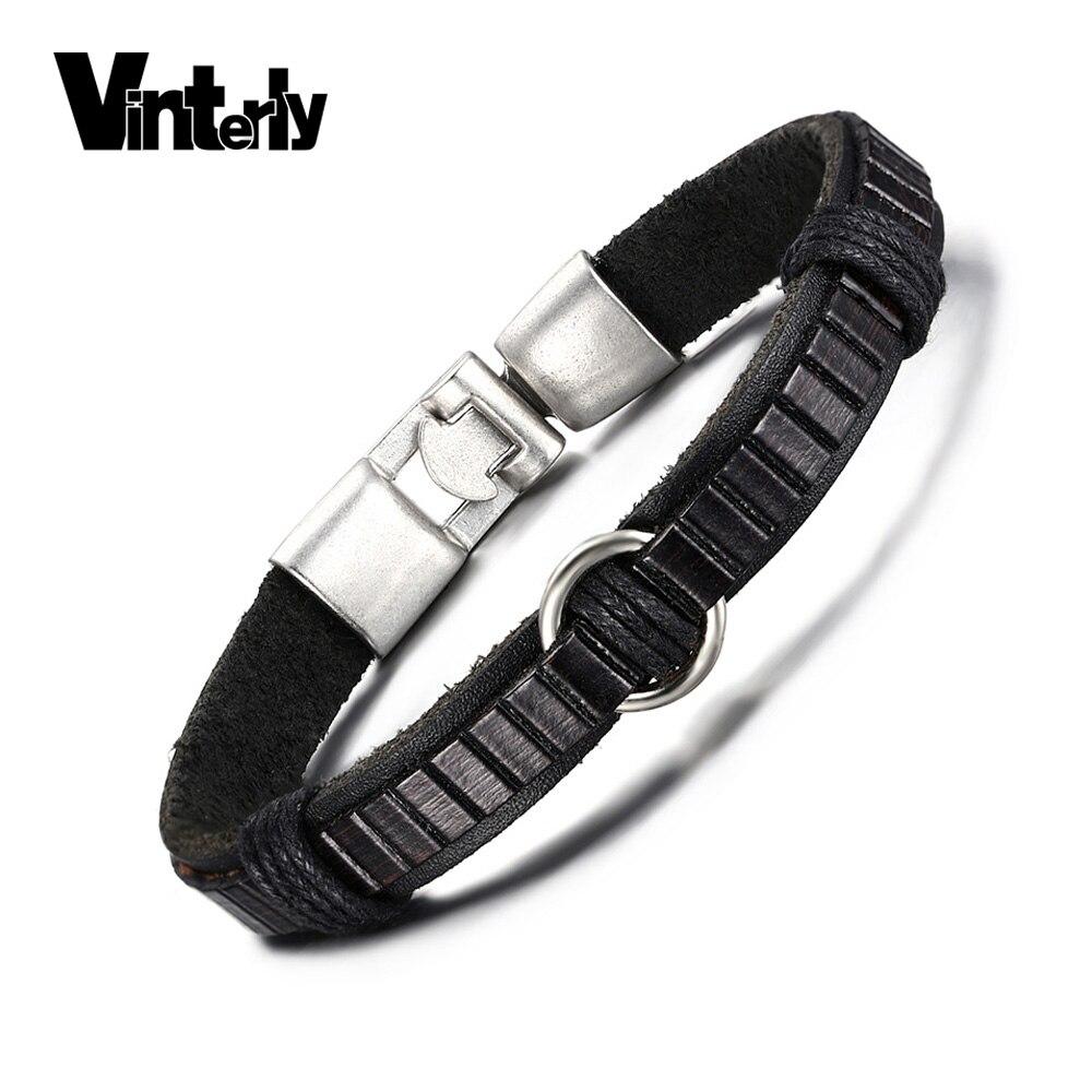 1537af494e7f Vinterly Main Noir Corde Tressée En Cuir Bracelet pour Hommes ...