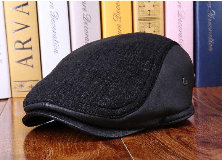 mens winter sheepskin leather baseball caps (2)