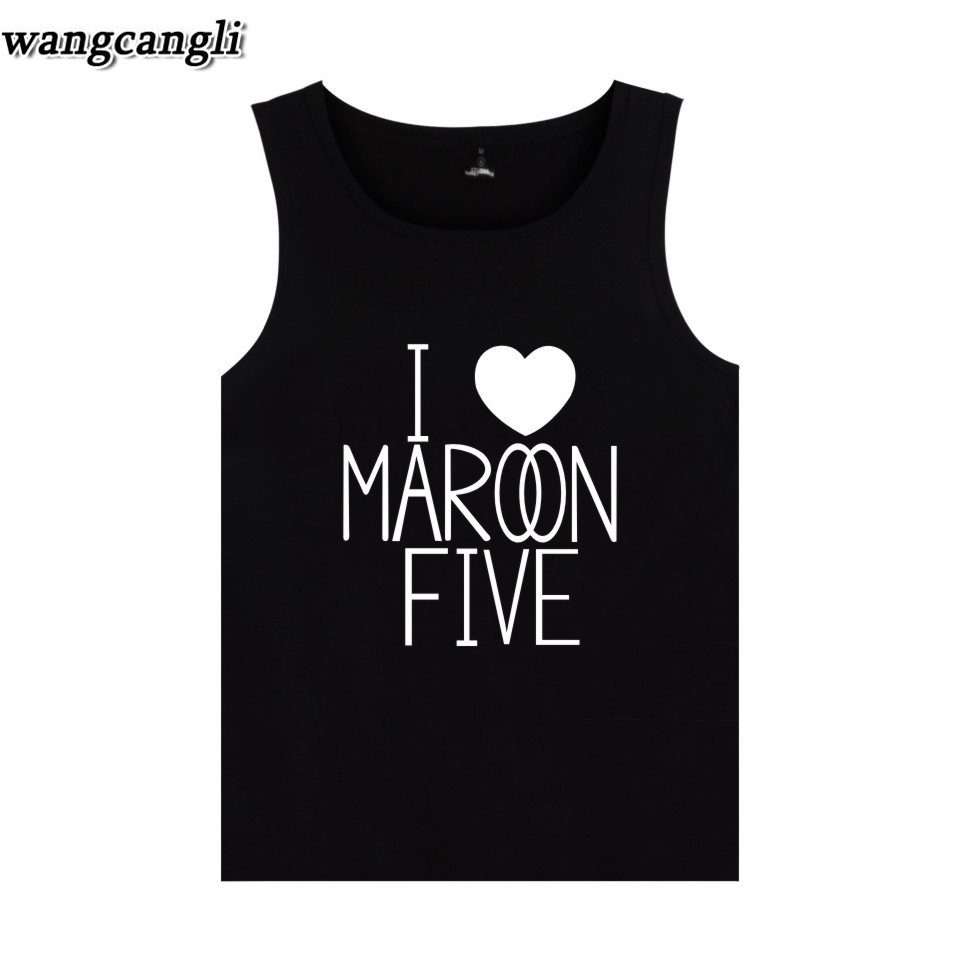 2018 Maroon 5 Rock Band Print Summer Sleeveness Workout Cool Men Tank Tops For Streetwear Casual Hip Hop Men Vest Plus Size 5xl