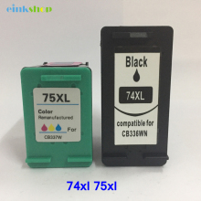 2pcs 74XL 75XL For HP 74 75 Ink Cartridge for hp Photosmart C4200 C4280 C4345 C4380 C4385 C4480 C4580 Officejet J5780 J6480