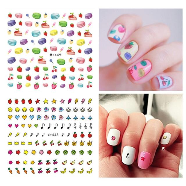3pcs Diy Nails Art Stickers Cartoon Fruit Macarons Water Transfer