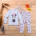 2017 new girl pijama roupa em casa Minnie roupas dos desenhos animados das crianças das crianças camisola pijama two-piece suit grátis grátis