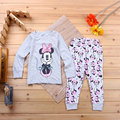 2017 nuevas niñas ropa de Minnie pijama casa ropa de los niños del suéter de la historieta de los pijamas de dos piezas traje de envío gratis