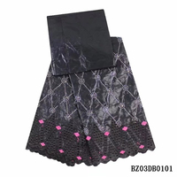 African 3 Yards Embroidery With 2 Yards Printed BAZIN Riche Getzner Lace Silver Fabric Black Fabric