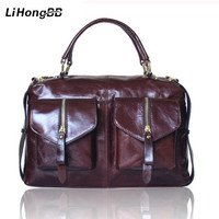 High Quality Women Bag Genuine Leather Handbags For Ladies Vintage Totes Oil Wax Hand Bag Female