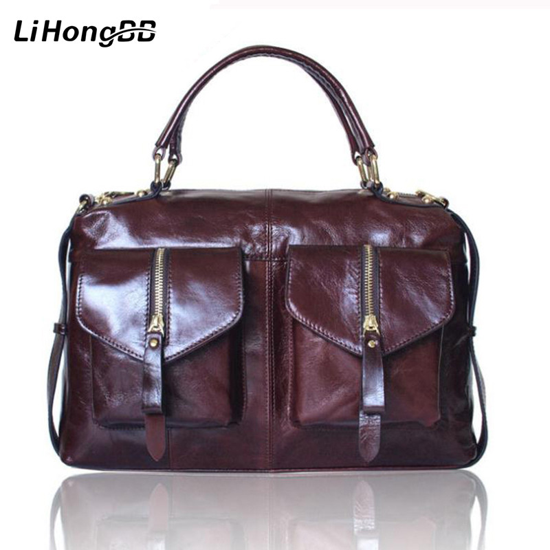 High Quality Women Bag Genuine Leather Handbags for Ladies Vintage Totes Oil Wax