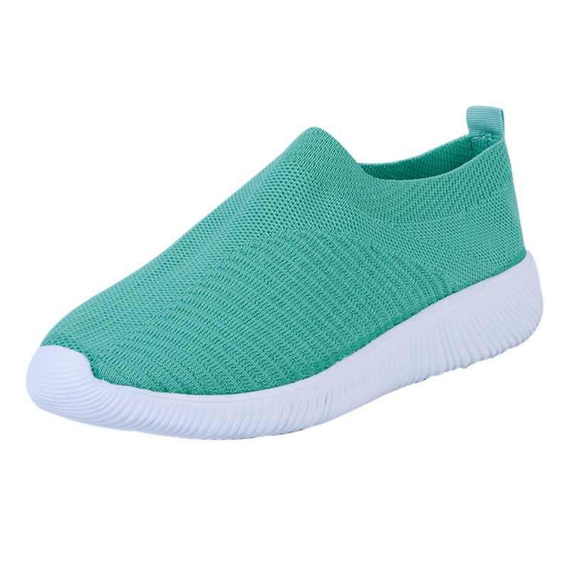 PUIMENTIUA Vrouwen Gebreide Gevulkaniseerd Sneakers Platte Schoenen Slip Op Sok Air Mesh Sneakers Vlakke Toevallige Ademend Lichtgewicht Schoenen