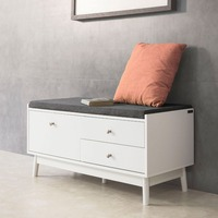 SoBuy FSR56 W, Shoe Rack Shoe Storage Cabinet Bed End Bench with Seat Cushion & 3 Drawers