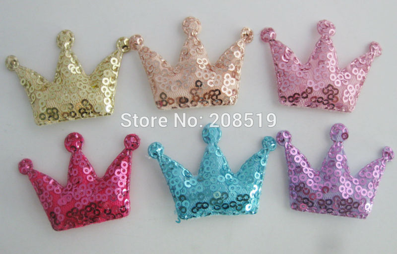 PANNEA 40mm*<font><b>50mm</b></font> Padded Shiny <font><b>Felt</b></font> Crown Appliques for Bows multicolors 120pcs sequined hairclips Findings image