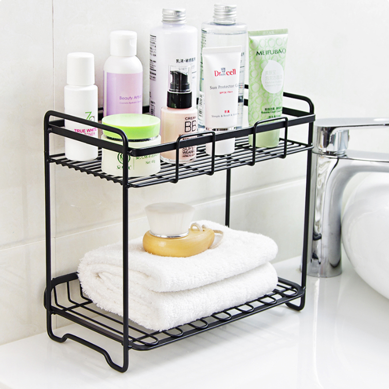 Multifunction 2-Layers Iron Storage Rack Spice Condiment Holder Basket Desk Organizer Kitchen Bathroom Storage Holder Rack Shelf