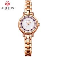 2016 Julius Quartz Brand Lady Watches Women Luxury Bracelet Watches Crystal Diamond Ultra Slim Rose Gold