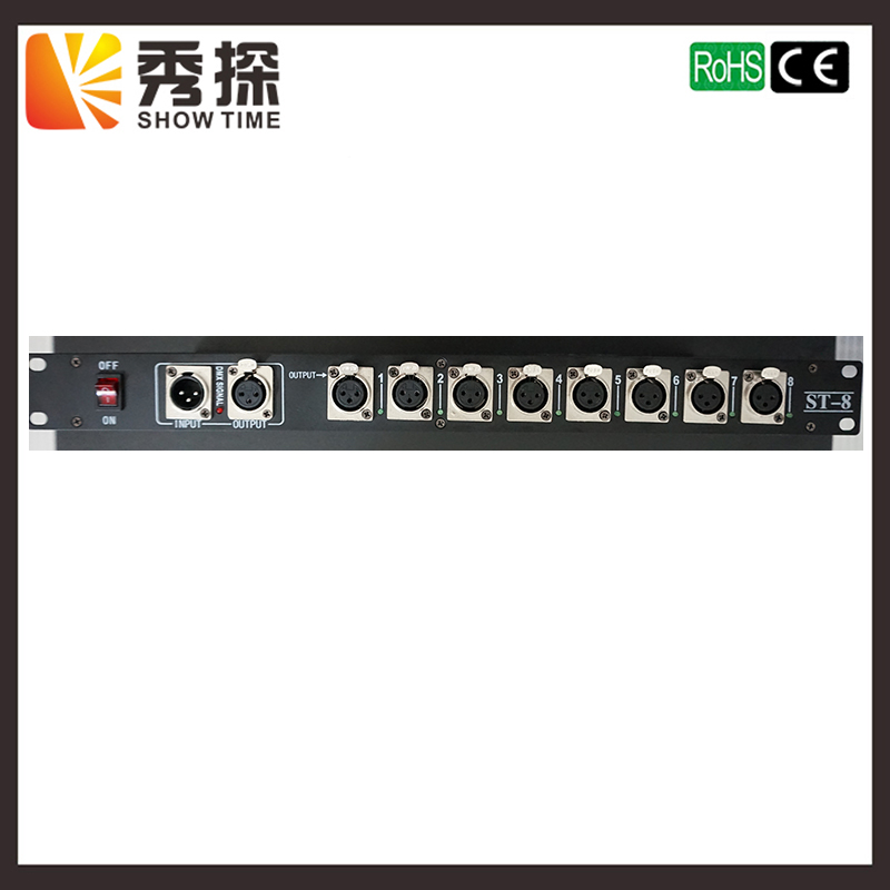 SHOW TIME Stage Light Controller DMX512 Splitter 8 way signal Photoelectric isolation Distributor Amplifier for stage light 2pcs lot 8 channel output dmx dmx512 led controller signal amplifier splitter distributor with photoelectric isolation