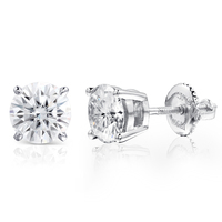 Fine Jewelry Platinum Plated Silver Moissanites Stud Earrings Total 2 Carat Diamond Lab Grown Gem 6