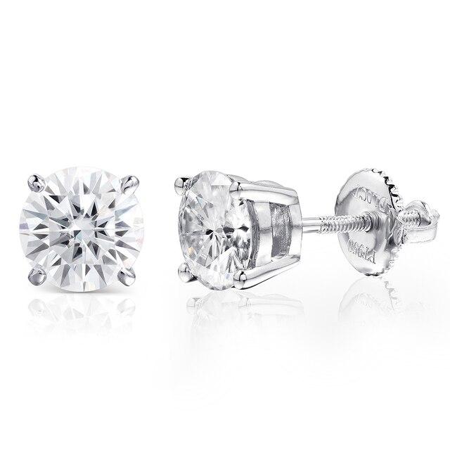 Fine Jewelry Platinum Plated Silver Moissanites Stud Earrings Total 1CTW Diamond Lab Grown Gem 4-Prong Diamond Stud Earring