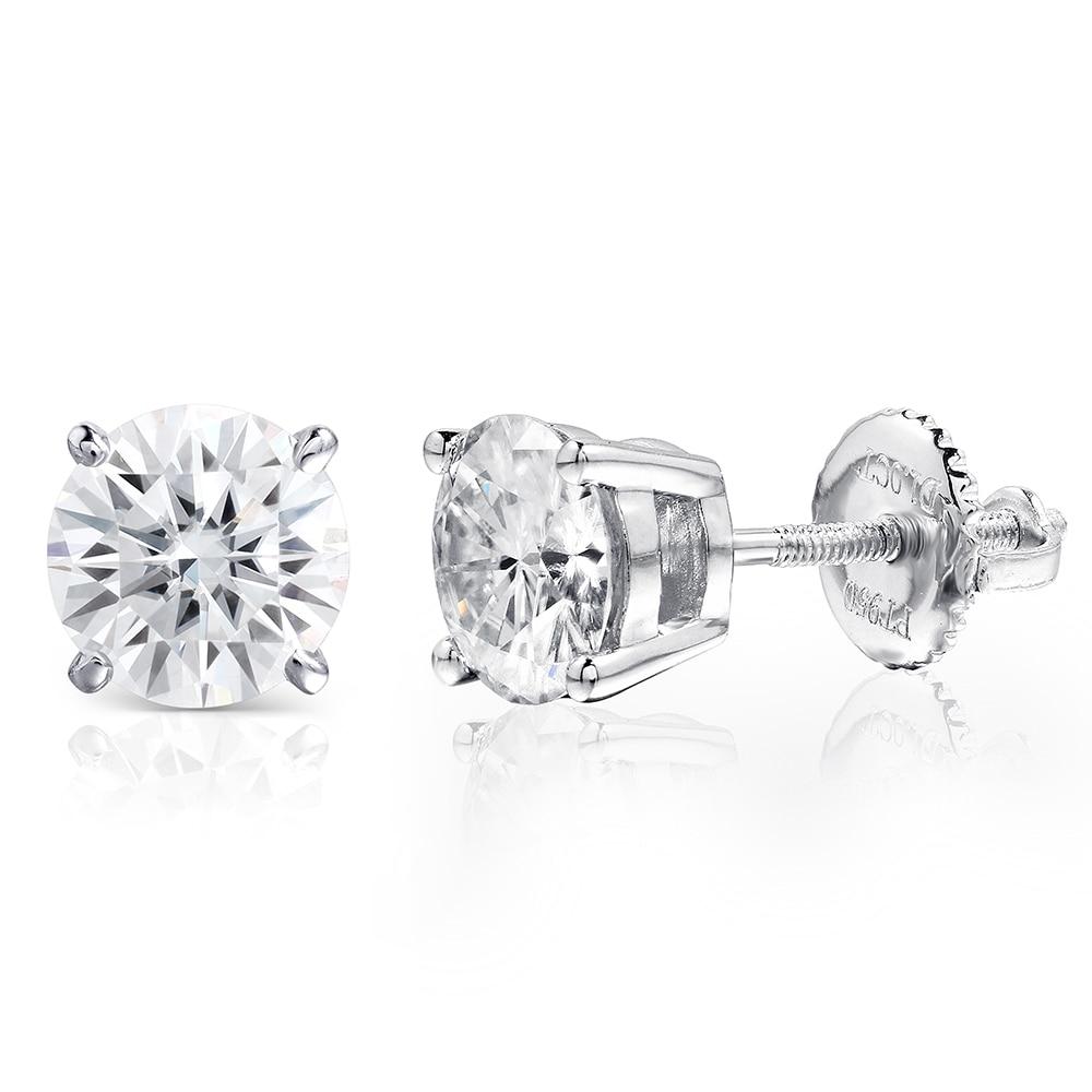 Fine Jewelry Platinum Plated Silver Moissanites Stud Earrings Total 1ctw  Diamond Lab Grown Gem 4prong Diamond Stud Earring