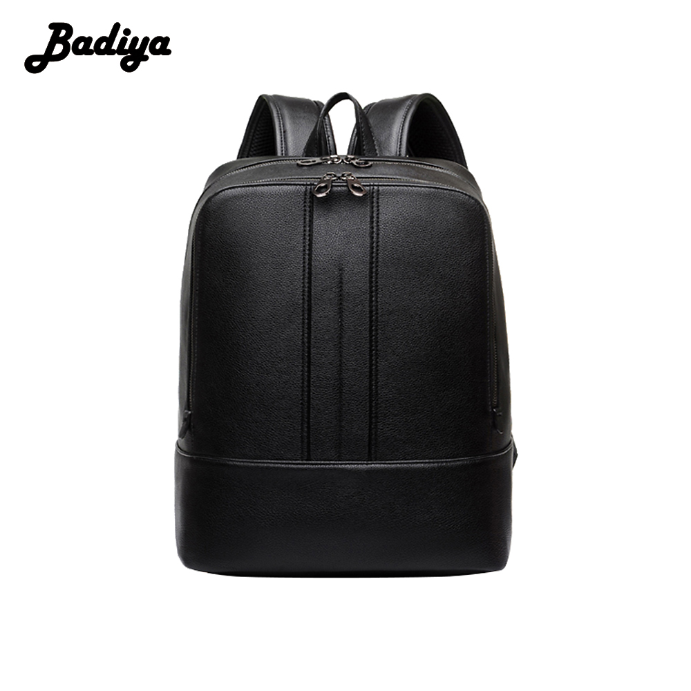 Badiya High Quality Backpack Men Soft PU Leather Large Capacity Korean Student School Bags Travel Laptop Backpacks Black new arrival vintage men pu leather backpacks large capacity zipper solid backpack for teenagers high quality black shoulder bags