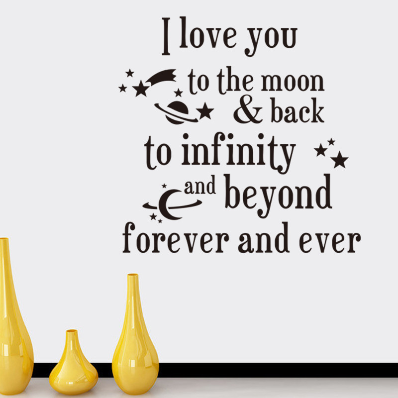 2016 new i love you to the moon back quote wall stickers for Love decorations for the home