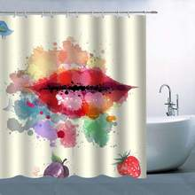 Personality Red Lip Pattern Theme Shower Curtain Sexy Bright Watercolor Blue Bird Strawberry Purple Blueberry Waterproof