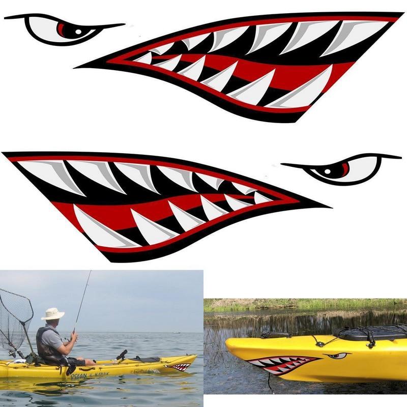15x5 Inch Car Fishing Stickers Lemon Shark Mouth Sticker