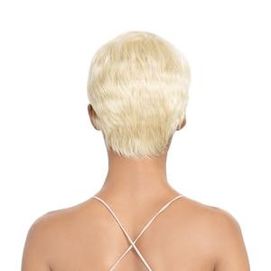 Image 4 - Trueme Ren Mặt Trước Con Người Tóc Giả 613 Tóc Vàng PIXIE Cắt Tóc Giả Ngắn Remy Brasil Tóc Giả Bên L Phần Ren tóc Giả Dành Cho Nữ