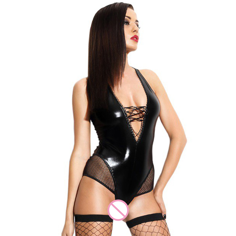 Gothic Womens Wetlook Clubwear Sexy Vinyl Leather Fishnet Patchwork Bodysuit Womens Blac ...