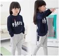 new 2014 autumn/fall children clothing set,children girl sport suit,paris letter outwear,sweater + pants set