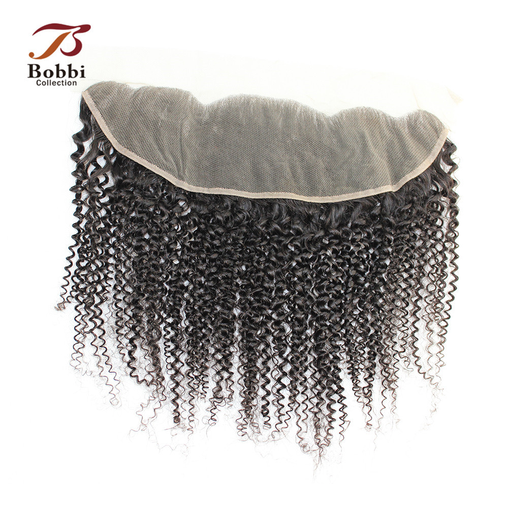 Bobbi Collection 4x13 Ear To Ear Lace Frontal Closure Afro Kinky Curly Brazilian Remy Human Hair Natural Color 8-20 Inch