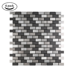 4 Sheets Gray Fireproof Peel and Stick Mosaic Tiles for Kitchen Backsplash 12 Inch Subway 3D Waterproof Wallpaper Bathroom