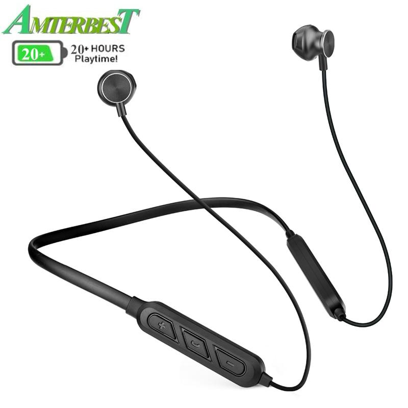 AMTERBEST X7 Plus Bluetooth Earphones Magnetic Neckband Headset Waterproof Wireless Sport Stereo Headsets with Microphone-in Bluetooth Earphones & Headphones from Consumer Electronics on AliExpress