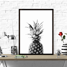 Watercolor Pineapple Canvas Art Print Painting Poster, Black White set Wall Pictures for Home Decoration, Decor