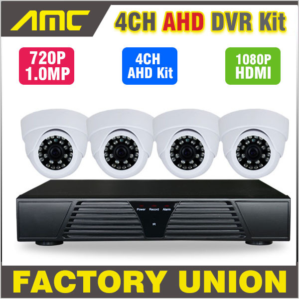 New 4 Channel Full AHD DVR 720P HD Dome IR-CUT CCTV 4ch Channel DVR Kit Home video surveillance Security system cctv 4ch 1080p ahd recording kit with hd 2mp dome ir day night 4 channel ahd camera kit video surveillance home security system