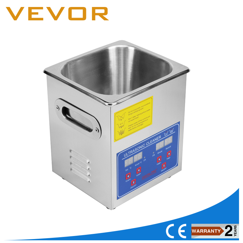 1.3L Ultrasonic Cleaner Liter Jewelry Cleaning Industry Heated Heater W/ Timer