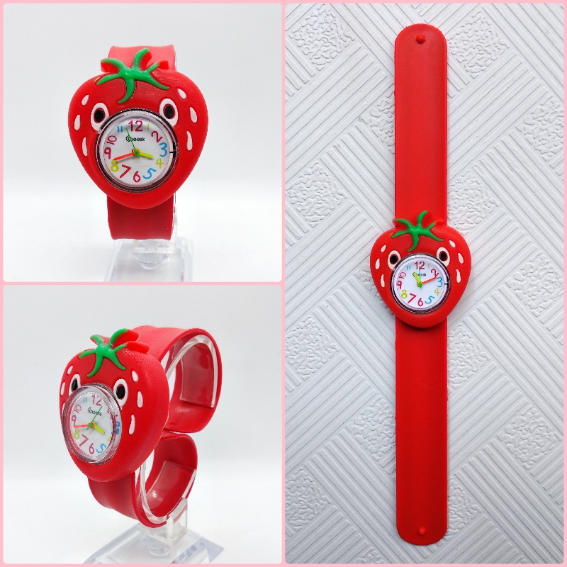 Children's Watches 3D Cartoon Strawberry Kids Wristwatch Kid Baby Watch Tape Patted Table Clock Quartz Watches Girls Boys Gift