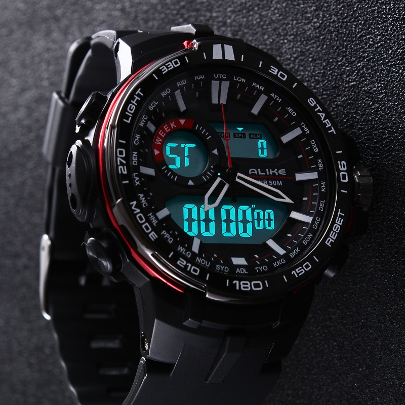 2019 New Brand ALIKE Casual horloge Heren G-stijl Waterproof Sports Military Horloges Shock Heren Luxueus Analoog Digitaal quartzhorloge