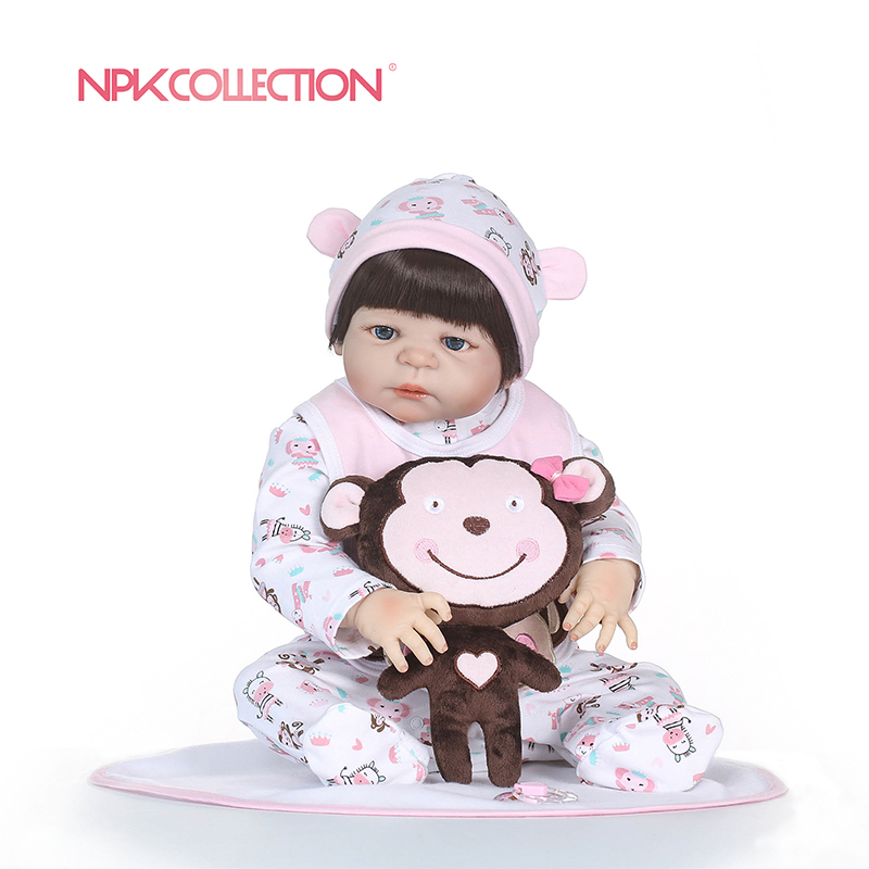 NPKCOLLECTION 55CM Soft Silicone Reborn Baby Doll Toys Lifelike Babies Boneca Full Vinyl Fashion Dolls Bebe Reborn Menina наборы для творчества style me up набор модные браслеты