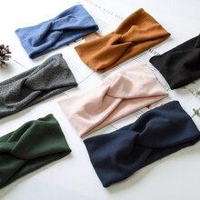 New Women Spring Autumn Sport Solid Headband Cross Knot Knitting Elastic Hair Bands