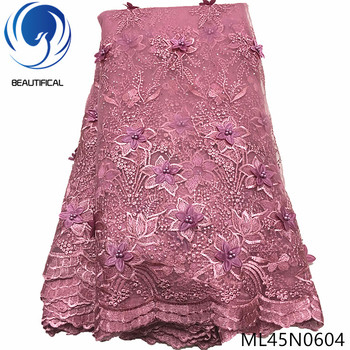 BEAUTIFICAL 3d lace flowers latest nigerian styles french party fabrics 5 yards 2019 tulle fabric ML45N06