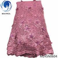 Beautifical 3d flores de renda mais recente nigeriano rendas estilos francês festa rendas tecidos 5 metros 2019 tule tecido 3d ml45n06